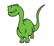 Smiling and Happy Dinosaur. A smiling and happy green brontosaurus dinosaur Royalty Free Stock Photos