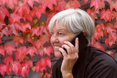 Smiling happy elderly woman talking outside on a mobile phone with nice autumn leaves royalty free stock photos