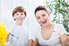 Smiling happy family moments with brashes and watercolors Stock Photo