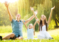 Smiling happy family outdoor Royalty Free Stock Photo