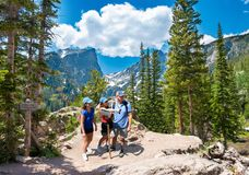 Free Smiling Happy Family Relaxing On The Hiking Trail. Royalty Free Stock Photography - 159525267