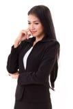 Smiling happy female business executive thinking Royalty Free Stock Photo