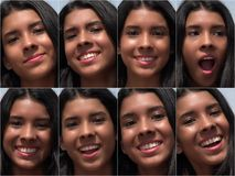 Smiling Happy Female Faces Collage Royalty Free Stock Images