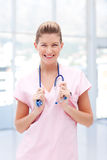 Smiling happy female nurse Stock Photos
