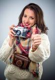 Smiling happy female photographer Stock Photos