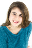 Smiling happy female teenager isolated Stock Images