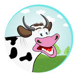 Smiling happy funny cow. Illustration of smiling happy funny cow standing in a meadow Stock Images