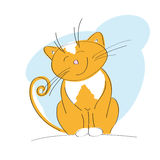 Smiling happy ginger cat. Original hand drawn illustration of a smiling happy ginger cat Royalty Free Stock Photo