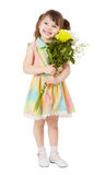 Smiling happy girl with big bouquet of asters Stock Photos