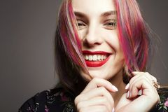 Smiling Happy Girl with colorful Dyed Hair Royalty Free Stock Photo