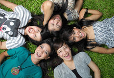 Smiling Happy girl friends group Stock Image
