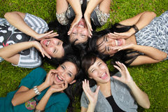 Smiling Happy girl friends group Royalty Free Stock Photos
