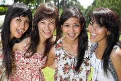 Smiling Happy girl friends group Stock Photo