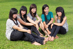 Smiling Happy girl friends group laughing Stock Image