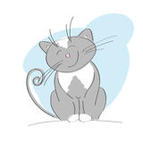 Smiling happy gray cat. Original hand drawn illustration of smiling happy gray cat Stock Photography