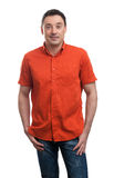 Smiling happy handsome man in red shirt Stock Images
