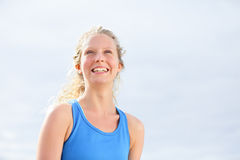 Smiling happy healthy woman outdoor portrait stock photos