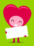 Smiling happy heart character holding white board Royalty Free Stock Image
