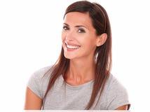 Smiling happy latin woman looking at camera Stock Photography