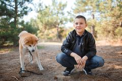 Happy little boy walking with dog in the park. Animal concept. Smiling happy little boy having fun with doggie in the park outdoors. Cute kid with puppy playing Stock Photography