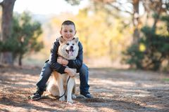 Happy little boy walking with dog in the park. Animal concept. Smiling happy little boy having fun with doggie in the park outdoors. Cute kid with puppy playing Stock Photos