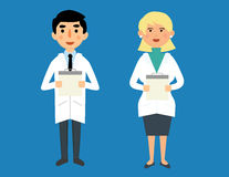 Smiling happy male and female doctors. Male and female doctor vector characters royalty free illustration