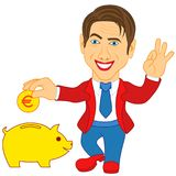 Men and piggy bank Stock Photography