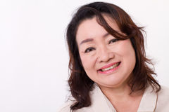 Smiling, happy middle aged woman royalty free stock photo