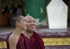Smiling Happy Monks Stock Photos