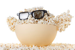Smiling happy Monster of popcorn, glasses. Isolated on white Stock Photos