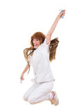 Smiling happy nurse in uniform with syringe and stethoscope jump Stock Photos