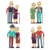 Smiling and happy old couples. Elderly families cartoon characters vector set Royalty Free Stock Image