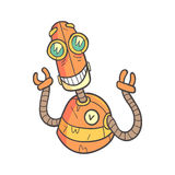 Smiling Happy Orange Robot Cartoon Outlined Illustration With Cute Android And His Emotions Royalty Free Stock Photos