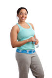Smiling Happy Plus Size Model Holding Water Bottle Royalty Free Stock Photos