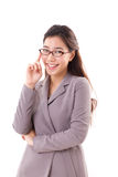 Smiling, happy, positive business woman with eyeglasses Stock Photo