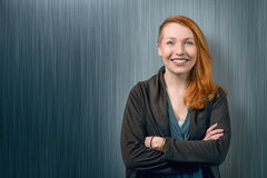 Smiling happy pretty red head woman Royalty Free Stock Image