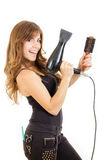 Smiling and happy professional caucasian brunette female hairdresser Stock Image