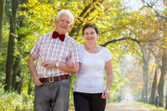Smiling happy senior couple stock photo