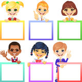 Vector happy smile kids with banners. Smiling happy smile kids with colorful banners Royalty Free Stock Images