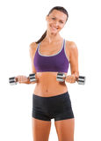 Smiling happy sport female with dumbbells isolated on white Stock Photo