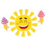 Smiling, happy sun holding ice cream, isolated cartoon vector illustration Royalty Free Stock Photo