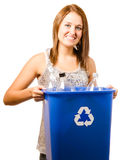 Smiling happy teenage girl taking out recycling. Isolated on white stock photography