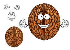 Smiling happy whole walnut character Royalty Free Stock Photos