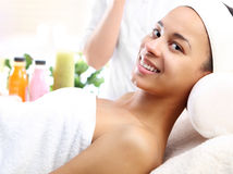 Smiling, happy woman in the beauty salon Stock Image