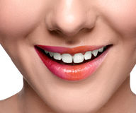Smiling happy woman face close up lips royalty free stock photo