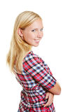 Smiling happy woman with her arms crossed Royalty Free Stock Photo