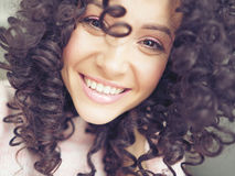 Smiling happy woman. Lifestyle photo of beautiful smiling happy woman. Emotions of happiness and joy Stock Image