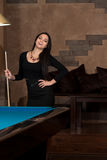 Smiling Happy Woman Playing Billiard Royalty Free Stock Image