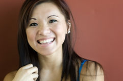 Smiling happy young woman Stock Photo
