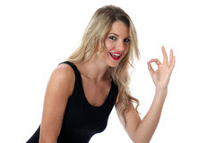 Smiling Happy Young Woman Making an OK Sign Stock Photos